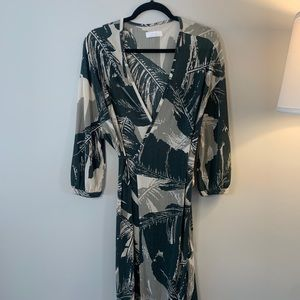 Oak + Fort Leaf Print Soft Wrap Dress